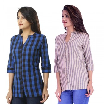 ASMANII COMBO PACK OF 2 DARK BLUE CHECK & CREAM GREY STRIPED COTTON SHIRTS JAIPUR