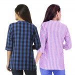 ASMANII COMBO PACK OF 2 DARK BLUE CHECK & PINK BLUE STRIPED COTTON SHIRTS JAIPUR