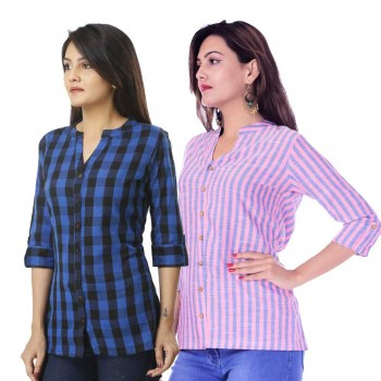 COMBO PACK OF 2 DARK BLUE CHECK & PINK BLUE STRIPED COTTON SHIRTS
