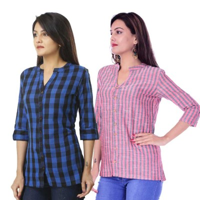 COMBO PACK OF 2 DARK BLUE CHECK & RED GREY STRIPED COTTON SHIRTS