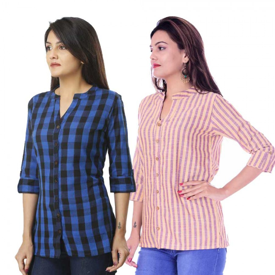ASMANII COMBO PACK OF 2 DARK BLUE CHECK & YELLOW PURPLE STRIPED COTTON SHIRTS JAIPUR