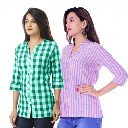 ASMANII COMBO PACK OF 2 GREEN CHECK & PINK BLUE STRIPED COTTON SHIRTS JAIPUR