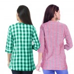 ASMANII COMBO PACK OF 2 GREEN CHECK & RED GREY STRIPED COTTON SHIRTS JAIPUR