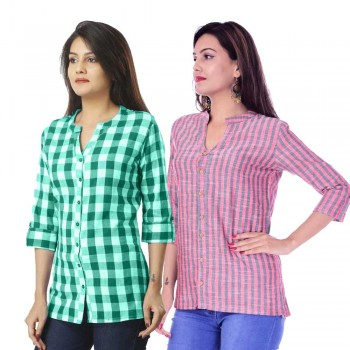 COMBO PACK OF 2 GREEN CHECK & RED GREY STRIPED COTTON SHIRTS