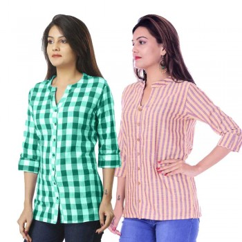 ASMANII COMBO PACK OF 2 GREEN CHECK & YELLOW PURPLE STRIPED COTTON SHIRTS JAIPUR