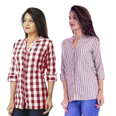 ASMANII COMBO PACK OF 2 MAROON CHECK & CREAM GREY STRIPED COTTON SHIRTS JAIPUR
