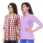 COMBO PACK OF 2 MAROON CHECK & PINK BLUE STRIPED COTTON SHIRTS