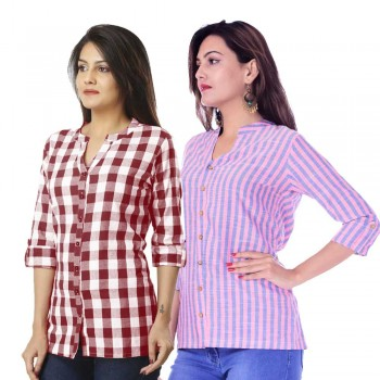 ASMANII COMBO PACK OF 2 MAROON CHECK & PINK BLUE STRIPED COTTON SHIRTS JAIPUR