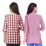 ASMANII COMBO PACK OF 2 MAROON CHECK & RED GREY STRIPED COTTON SHIRTS JAIPUR