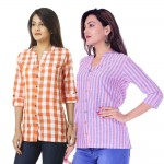 ASMANII COMBO PACK OF 2 ORANGE CHECK & PINK BLUE STRIPED COTTON SHIRTS JAIPUR