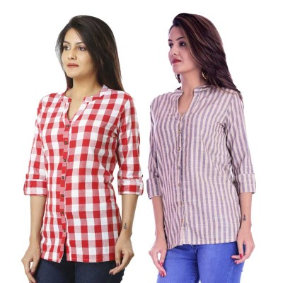 ASMANII COMBO PACK OF 2 PINK CHECK & CREAM GREY STRIPED COTTON SHIRTS JAIPUR
