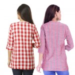 ASMANII COMBO PACK OF 2 PINK CHECK & RED GREY STRIPED COTTON SHIRTS JAIPUR