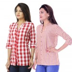 ASMANII COMBO PACK OF 2 PINK CHECK & YELLOW PURPLE STRIPED COTTON SHIRTS JAIPUR