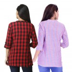 ASMANII COMBO PACK OF 2 RED CHECK & PINK BLUE STRIPED COTTON SHIRTS JAIPUR