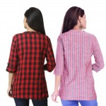 ASMANII COMBO PACK OF 2 RED CHECK & RED GREY STRIPED COTTON SHIRTS JAIPUR