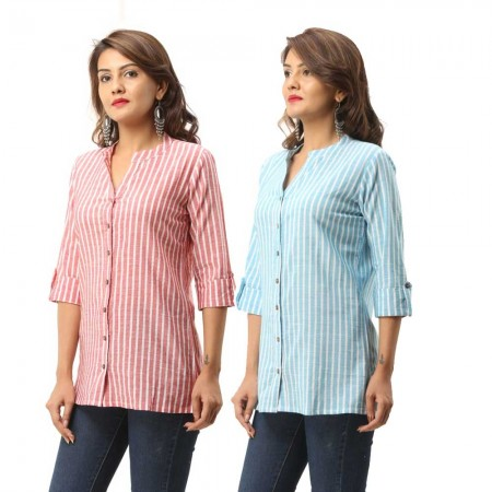ASMANII COMBO PACK OF 2 RED LIGHT BLUE COTTON CASUAL STRIPED SHIRTS JAIPUR