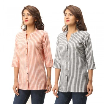 ASMANII COMBO PACK OF 2 ORANGE GREY COTTON CASUAL STRIPED SHIRTS JAIPUR