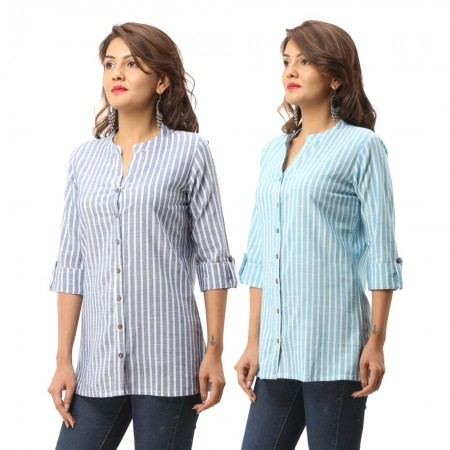 ASMANII COMBO PACK OF 2 BLUE LIGHT BLUE COTTON CASUAL STRIPED SHIRTS JAIPUR
