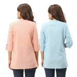 ASMANII COMBO PACK OF 2 ORANGE LIGHT BLUE COTTON CASUAL STRIPED SHIRTS JAIPUR