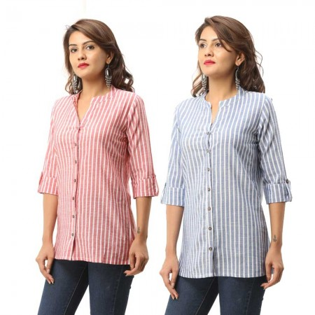 ASMANII COMBO PACK OF 2 RED BLUE COTTON CASUAL STRIPED SHIRTS JAIPUR