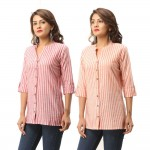 ASMANII COMBO PACK OF 2 RED ORANGE COTTON CASUAL STRIPED SHIRTS JAIPUR
