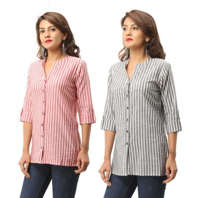 ASMANII COMBO PACK OF 2 RED GREY COTTON CASUAL STRIPED SHIRTS JAIPUR