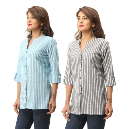ASMANII COMBO PACK OF 2 LIGHT BLUE GREY COTTON CASUAL STRIPED SHIRTS JAIPUR