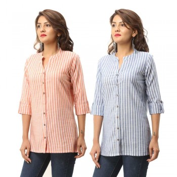 COMBO PACK OF 2 ORANGE BLUE COTTON CASUAL STRIPED SHIRTS
