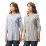 ASMANII COMBO PACK OF 2 BLUE GREY COTTON CASUAL STRIPED SHIRTS JAIPUR