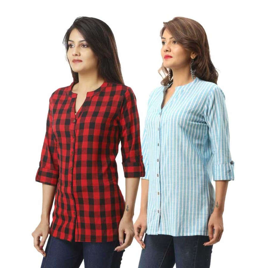 ASMANII COMBO PACK OF 2 RED CHECK & LIGHT BLUE STRIPED COTTON SHIRTS JAIPUR