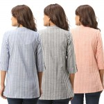 ASMANII COMBO PACK OF 3 BLUE GREY ORANGE COTTON CASUAL STRIPED SHIRTS JAIPUR