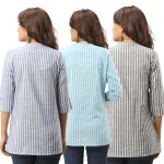 ASMANII COMBO PACK OF 3 BLUE LIGHT BLUE GREY COTTON CASUAL STRIPED SHIRTS JAIPUR
