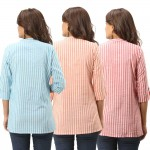 ASMANII COMBO PACK OF 3 LIGHT BLUE ORANGE RED COTTON CASUAL STRIPED SHIRTS JAIPUR
