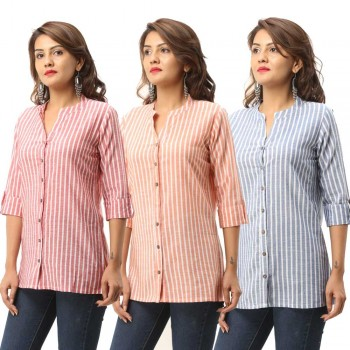 ASMANII COMBO PACK OF 3 RED ORANGE BLUE COTTON CASUAL STRIPED SHIRTS JAIPUR