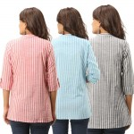 ASMANII COMBO PACK OF 3 RED LIGHT BLUE GREY COTTON CASUAL STRIPED SHIRTS JAIPUR