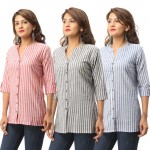 ASMANII COMBO PACK OF 3 RED GREY BLUE COTTON CASUAL STRIPED SHIRTS JAIPUR