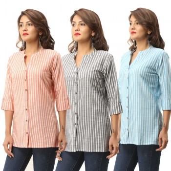 ASMANII COMBO PACK OF 3 ORANGE GREY LIGHT BLUE COTTON CASUAL STRIPED SHIRTS JAIPUR