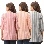 ASMANII COMBO PACK OF 3 RED ORANGE GREY COTTON CASUAL STRIPED SHIRTS JAIPUR
