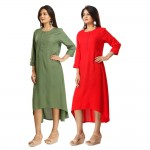 ASMANII COMBO PACK OF 2 GREEN & RED VISCOSE A LINE KURTI JAIPUR