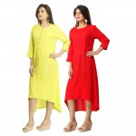 ASMANII COMBO PACK OF 2 DARK YELLOW & RED VISCOSE A LINE KURTI JAIPUR