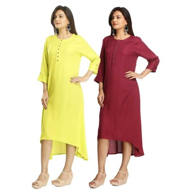 ASMANII COMBO PACK OF 2 DARK YELLOW & MAROON VISCOSE A LINE KURTI JAIPUR