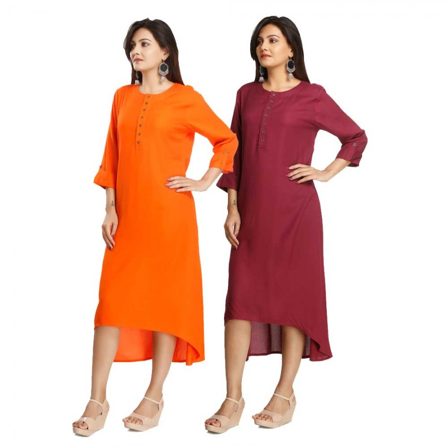 ASMANII COMBO PACK OF 2 ORANGE & MAROON VISCOSE A LINE KURTI JAIPUR