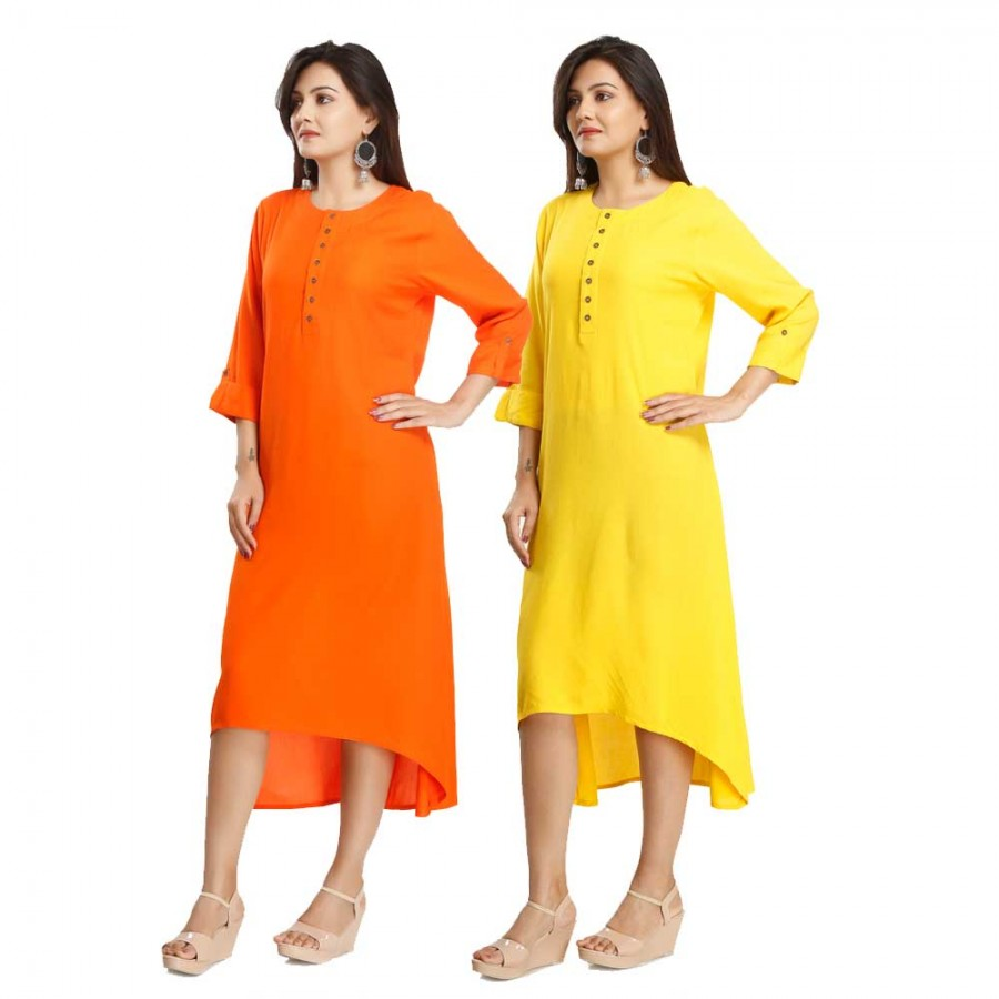 ASMANII COMBO PACK OF 2 YELLOW & ORANGE VISCOSE A LINE KURTI JAIPUR