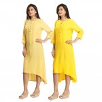 ASMANII COMBO PACK OF 2 LIGHT YELLOW & YELLOW VISCOSE A LINE KURTI JAIPUR