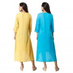 ASMANII COMBO PACK OF 2 LIGHT YELLOW & BLUE VISCOSE A LINE KURTI JAIPUR