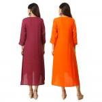 ASMANII COMBO PACK OF 2 MAROON & ORANGE VISCOSE A LINE KURTI JAIPUR