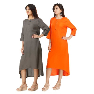 ASMANII COMBO PACK OF 2 GREY & ORANGE VISCOSE A LINE KURTI JAIPUR