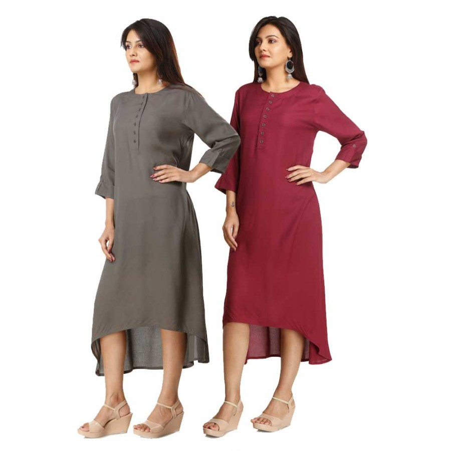 ASMANII COMBO PACK OF 2 GREY & MAROON VISCOSE A LINE KURTI JAIPUR