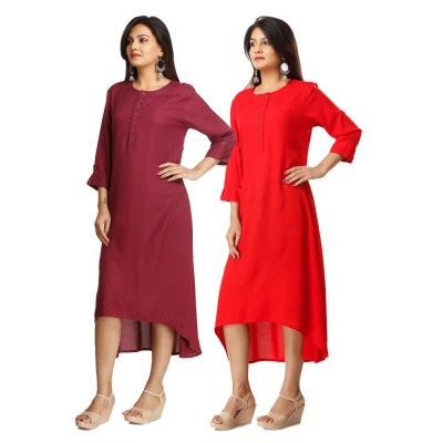 ASMANII COMBO PACK OF 2 MAROON & RED VISCOSE A LINE KURTI JAIPUR