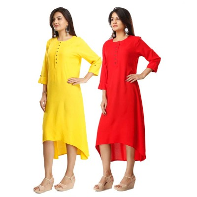 ASMANII COMBO PACK OF 2 YELLOW & RED VISCOSE A LINE KURTI JAIPUR
